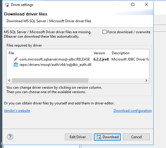SqlServer drivers need to be downloaded every time i restart dbeaver