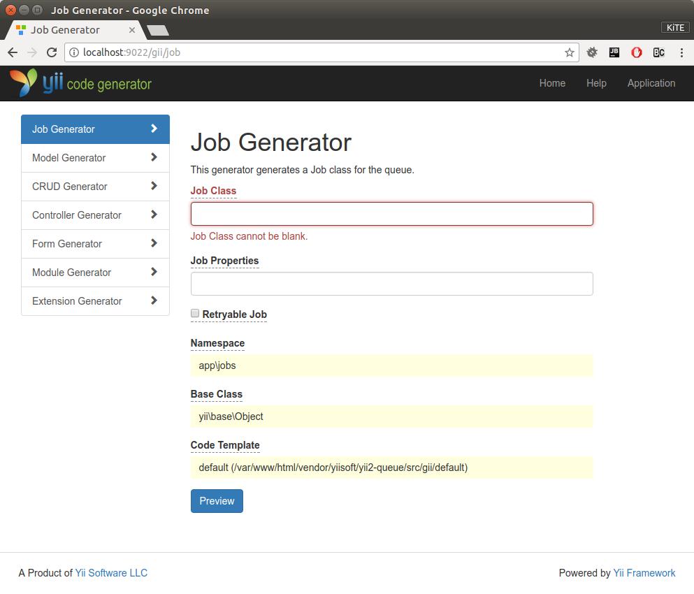Developer tools: Code generator Gii | Yii2 Queue extension