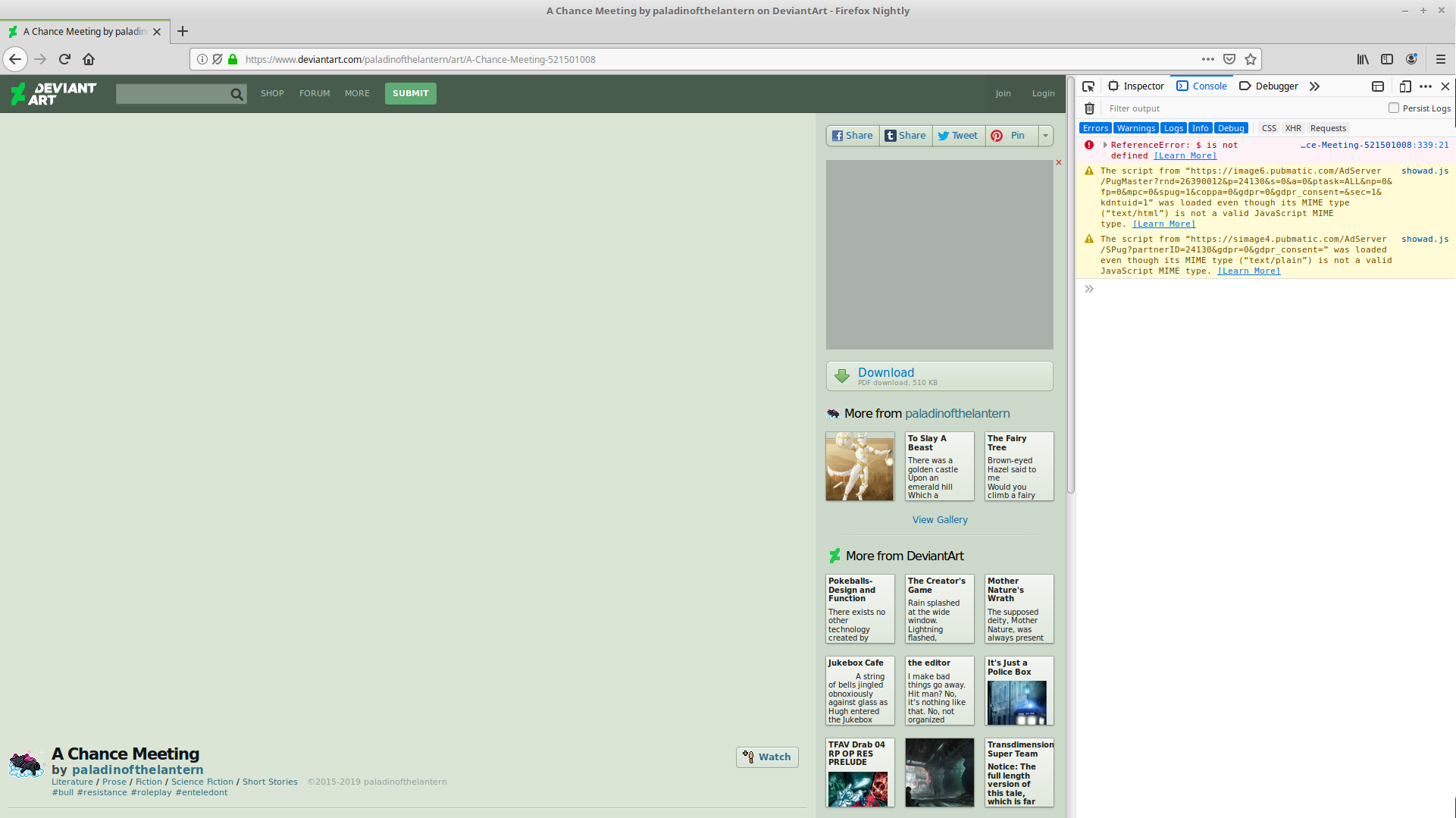 www deviantart com - Embedded PDF does not appear · Issue #29420