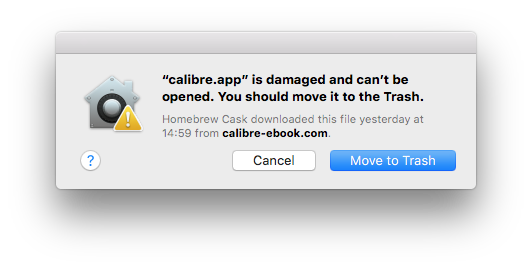 """calibre app"""" is damaged and can't be opened  You should move it to"""