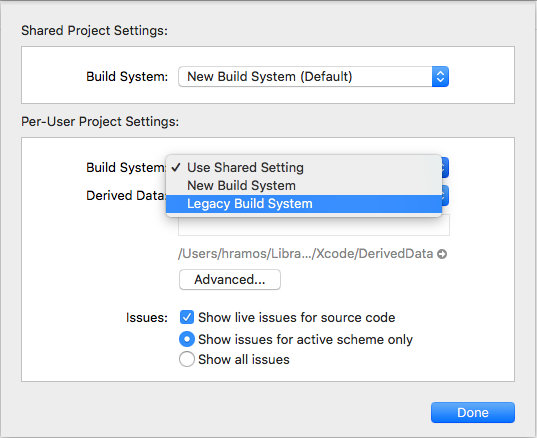 ☂️ Supporting Xcode 10 and the new Xcode build system