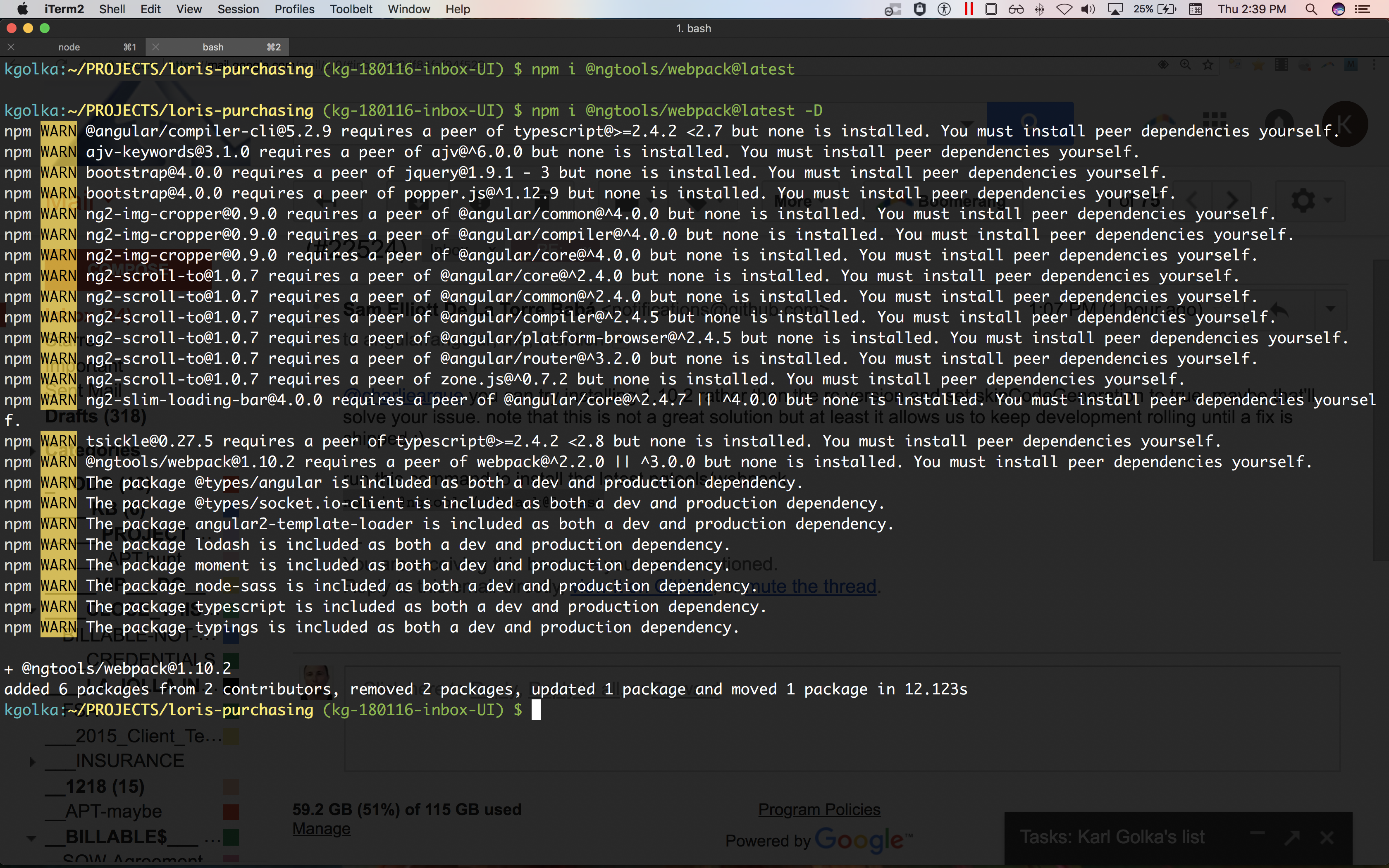 installed different ngtools version