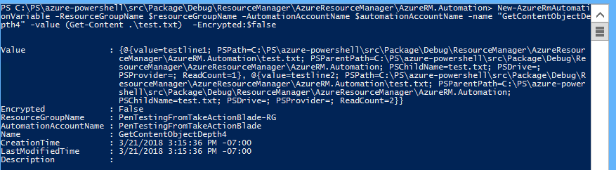 New-AzureRMAutomationVariable cmdlet hangs indefinetely when