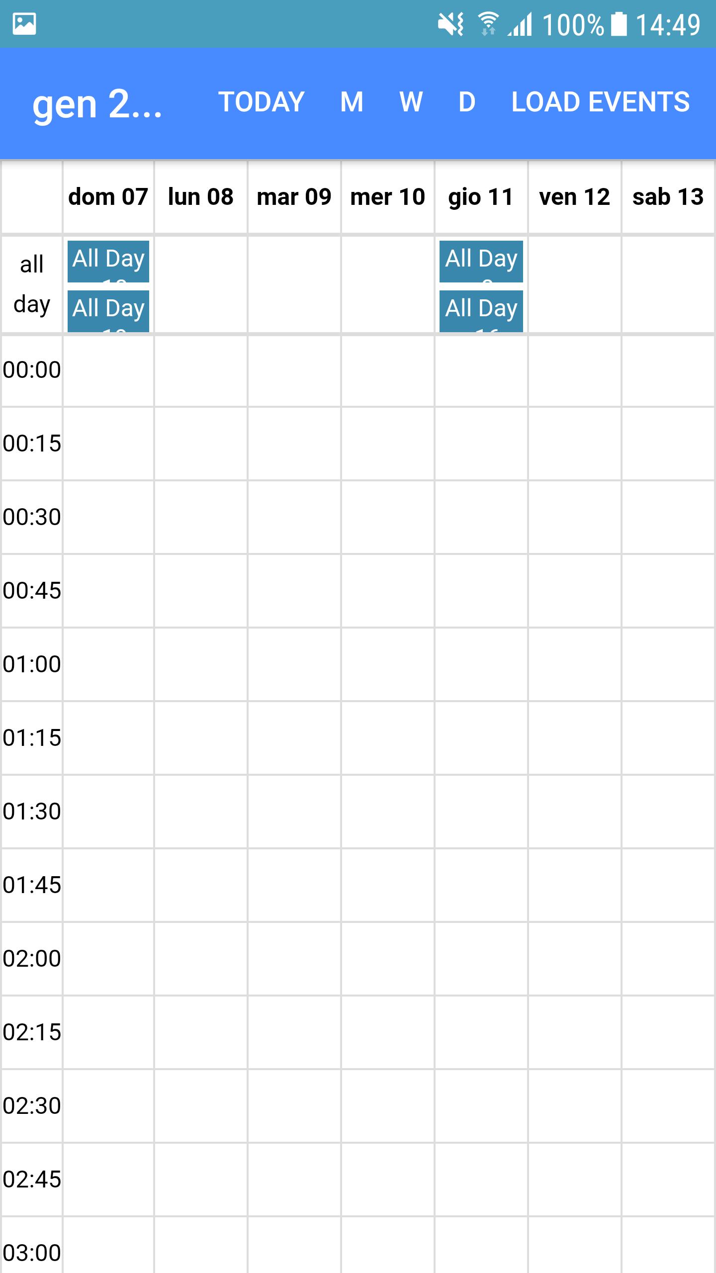 week calendar by hour