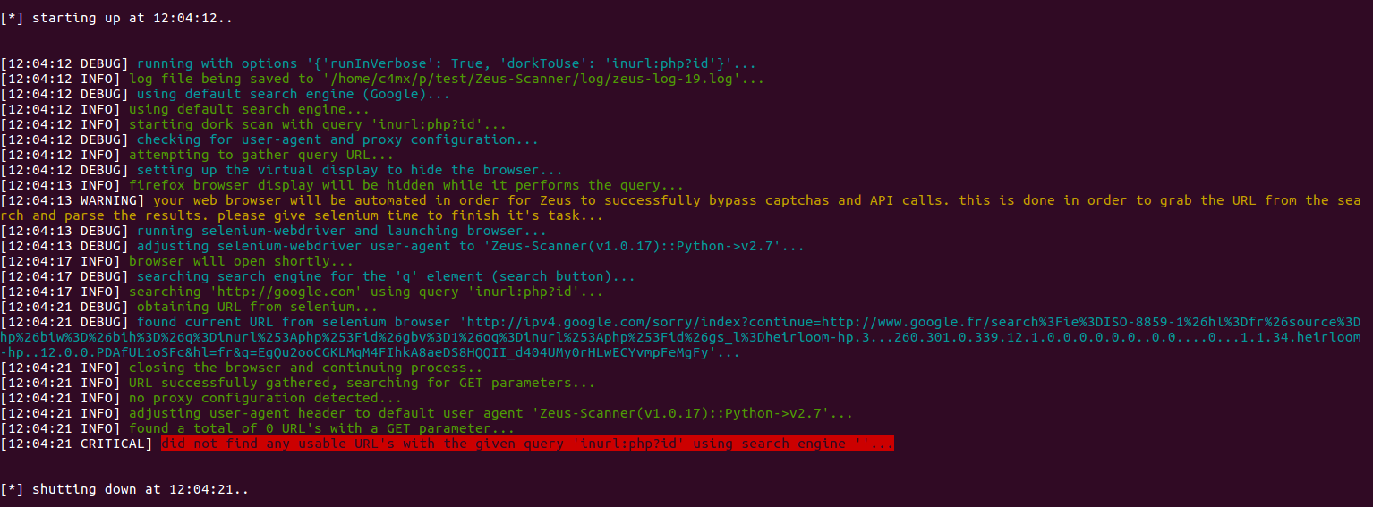 Got IP banned using google search · Issue #13 · Ekultek/Zeus-Scanner