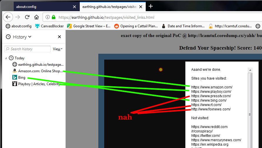 History scraping - a:visited and timing attacks [1477773 for