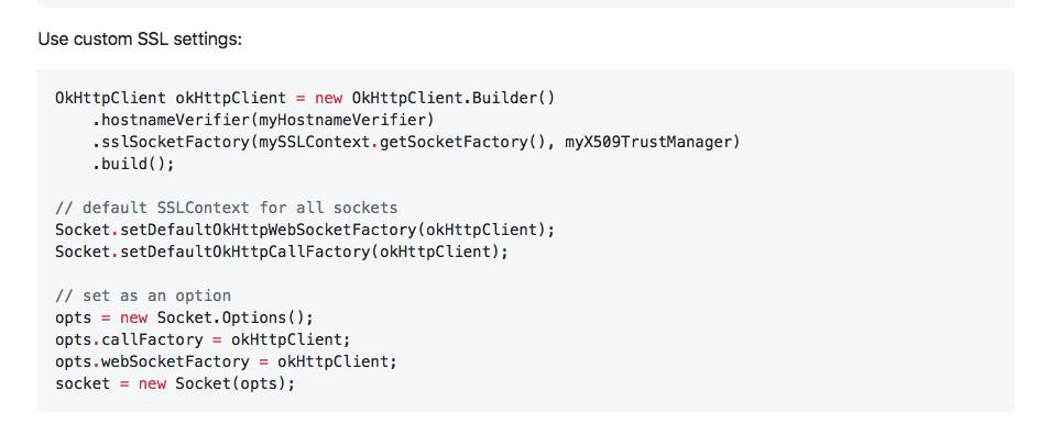 I can't use Socket setDefaultOkHttpWebSocketFactory(XXX