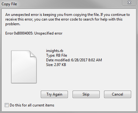 An unexpected error is keeping you from copying the file  · Issue