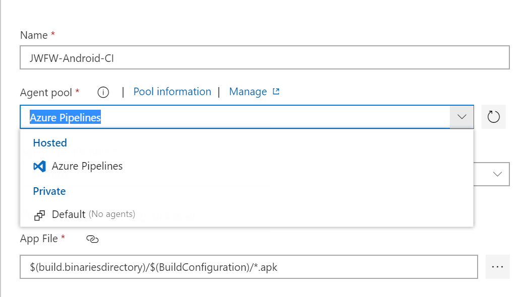 On different Azure DevOps account, the list of MS hosted