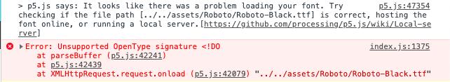 ttf fonts not valid in webGL mode · Issue #3818 · processing