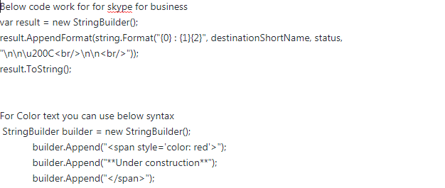 Skype for Business] Markdown and Line Break formatting