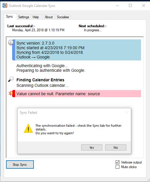Outlook 2016 v1803 build 9126 2152 breaks OGCS · Issue #517
