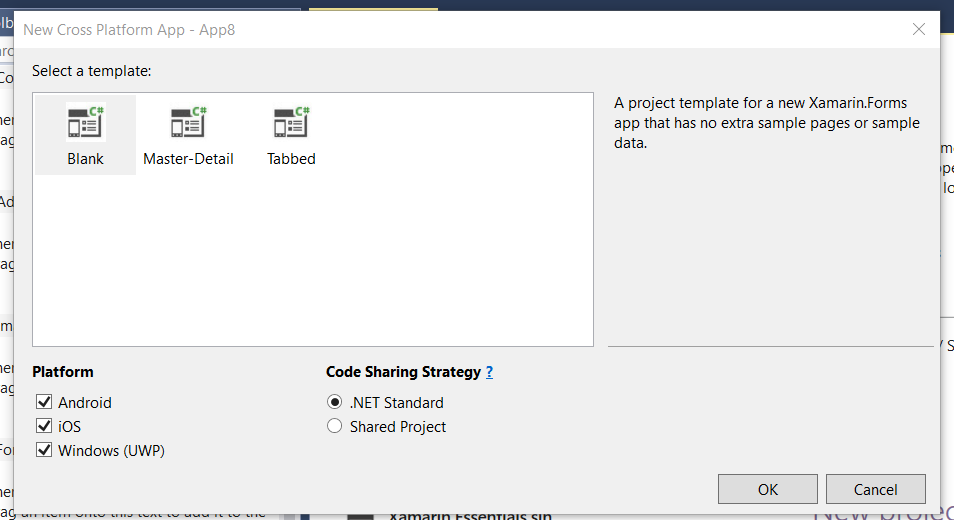Can't create a simple Xamarin Forms app with  NET Standard