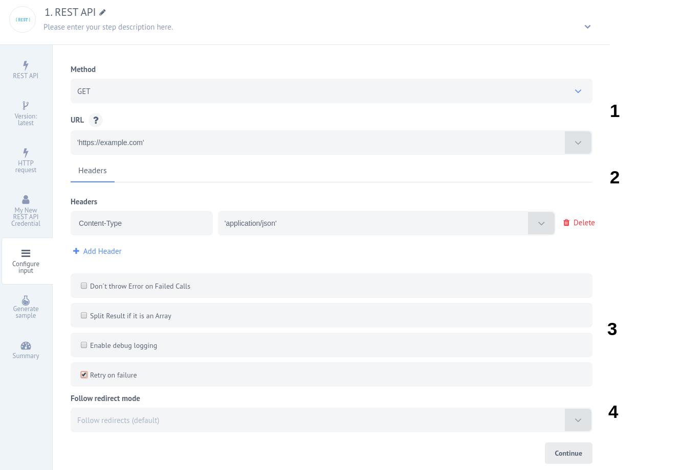 Configure Input - Rest API
