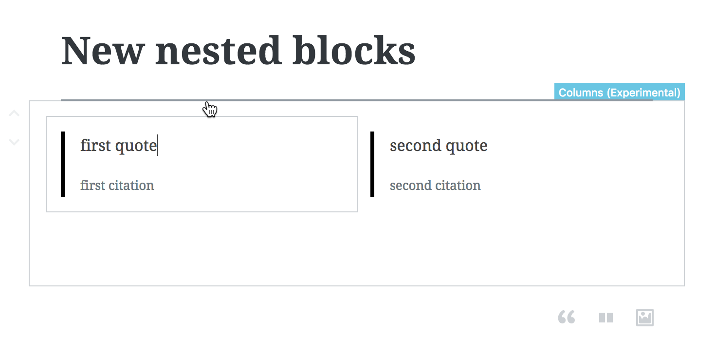 horiontal inserter nested blocks