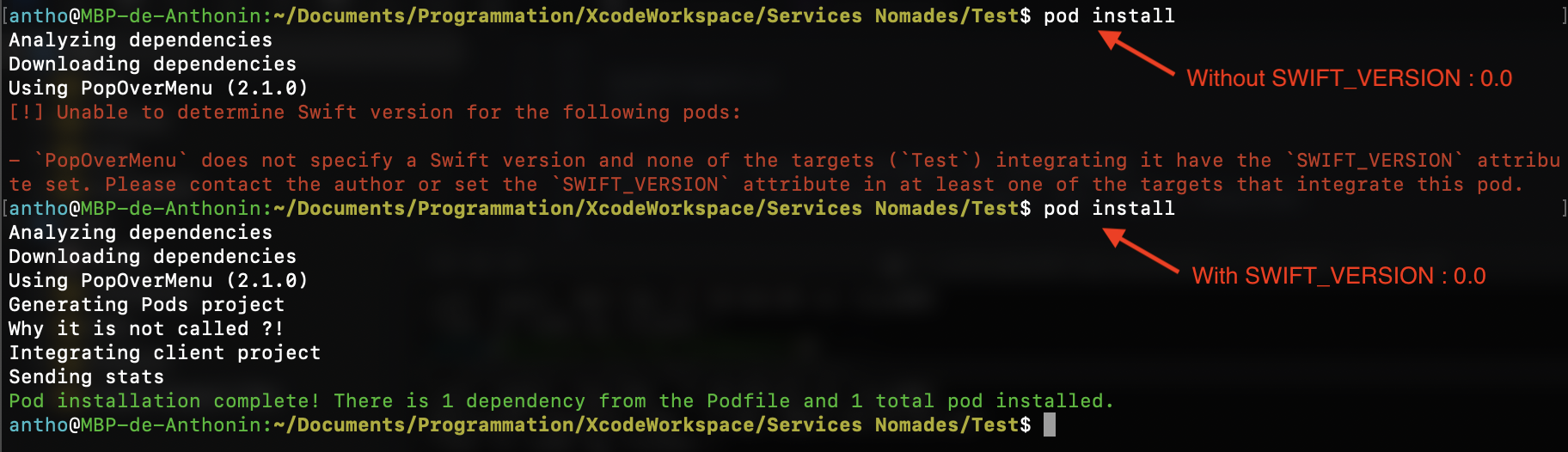 post_install is not called - trying to set Swift version of pods