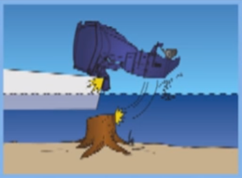 outboard hitting an object