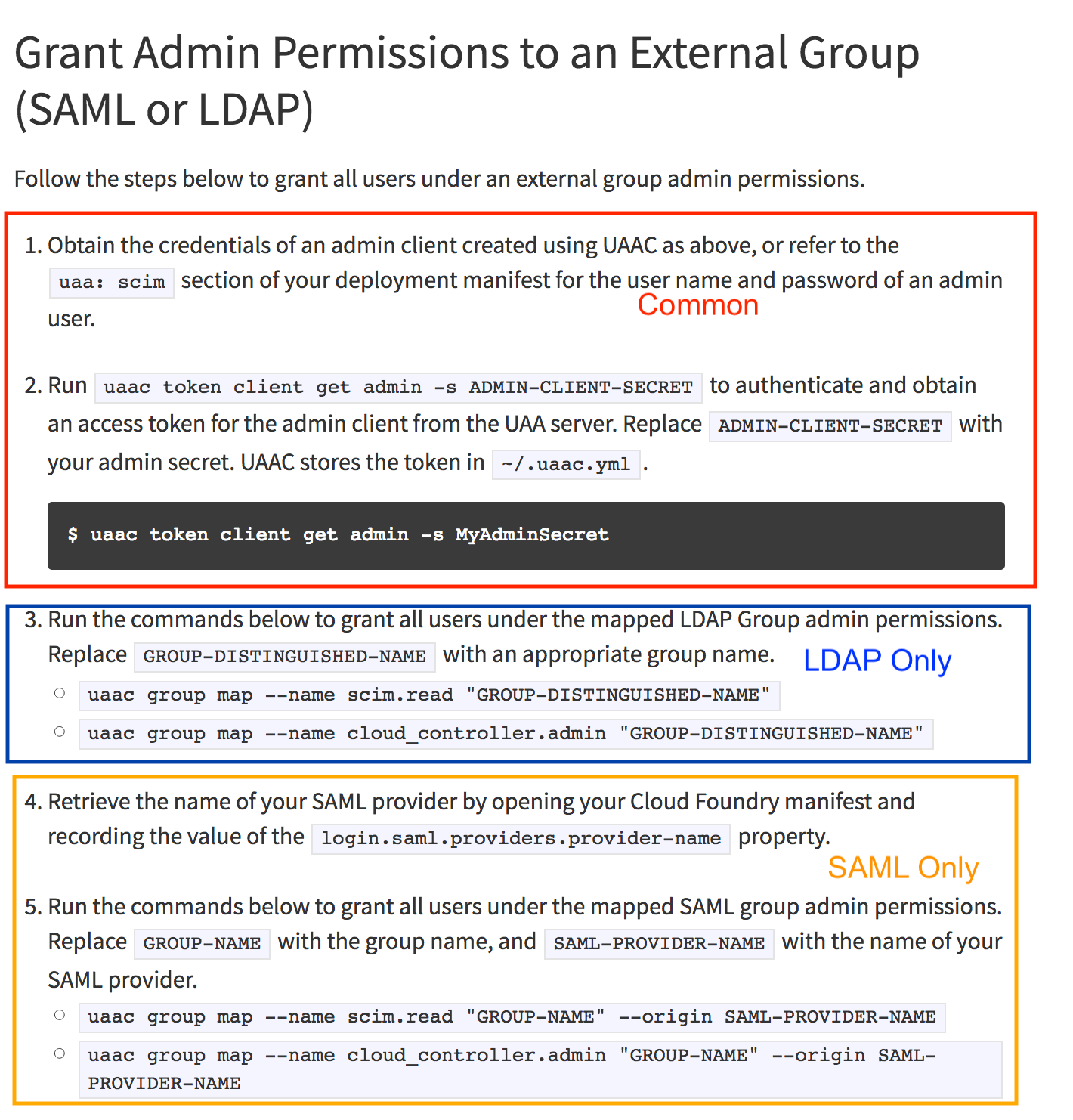 Grant Admin Permissions to an External Group needs to clarify which