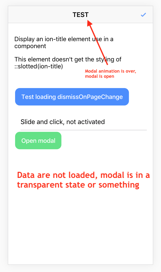 Ionic v4] Ugly modal transition when loading data in