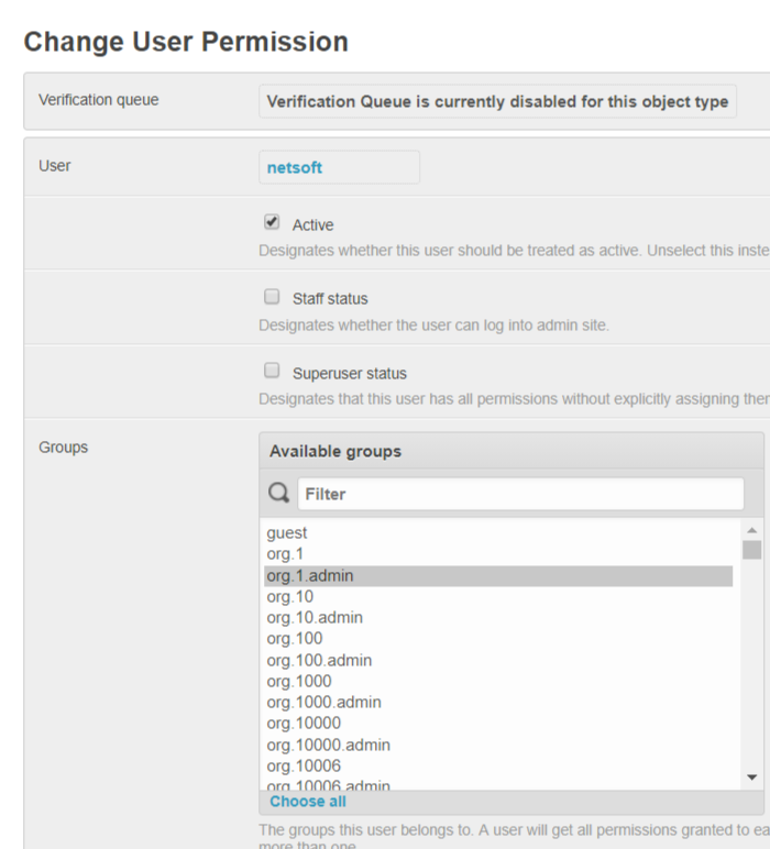 Change User Permission   PeeringDB