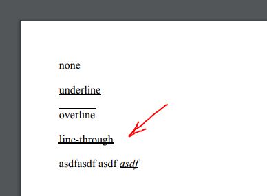CSS  text decoration: line through;  doesn't work properly