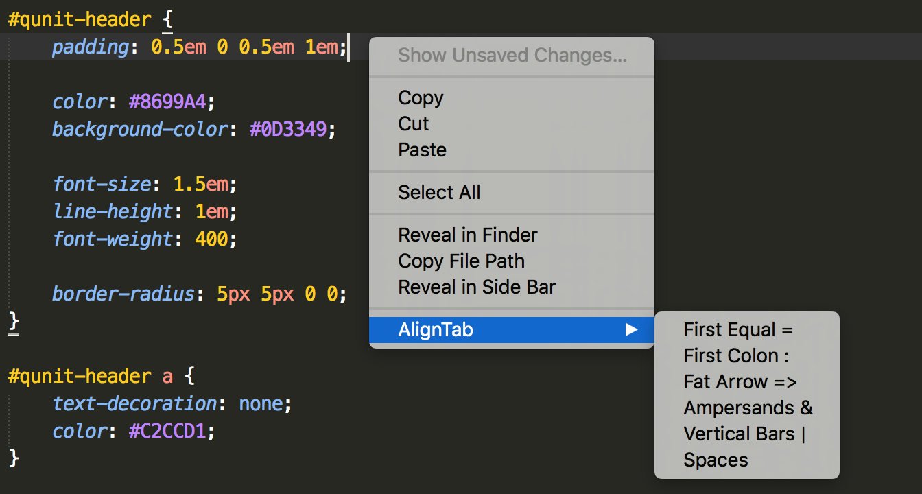 GitHub - randy3k/AlignTab: An alignment plugin for Sublime