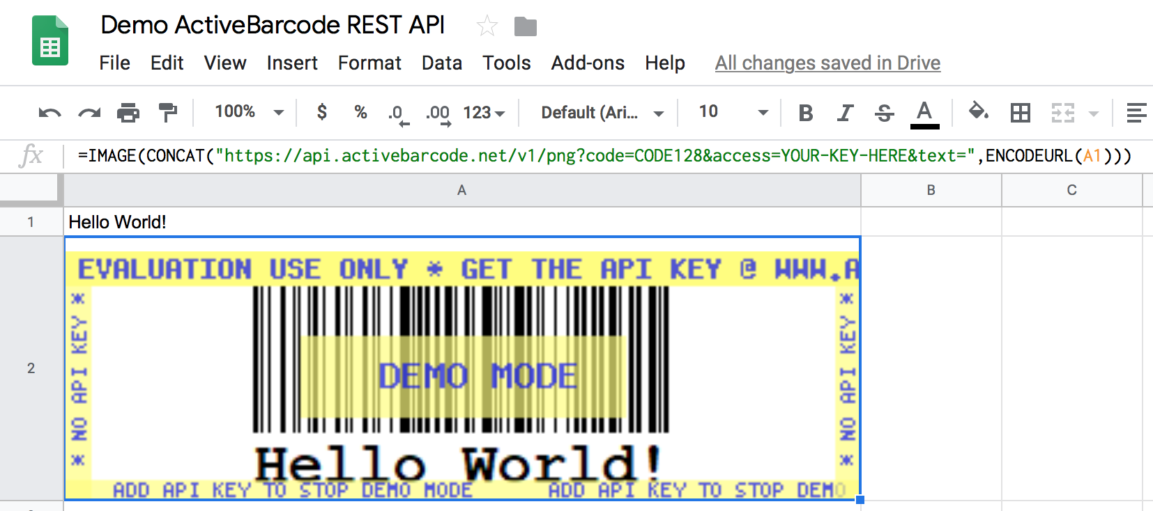 Demo-ActiveBarcode-REST-API-Google-Sheets