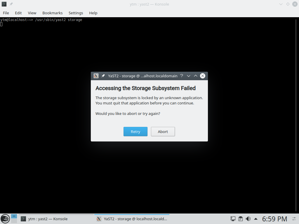 YaST Storage executed without enough permissions