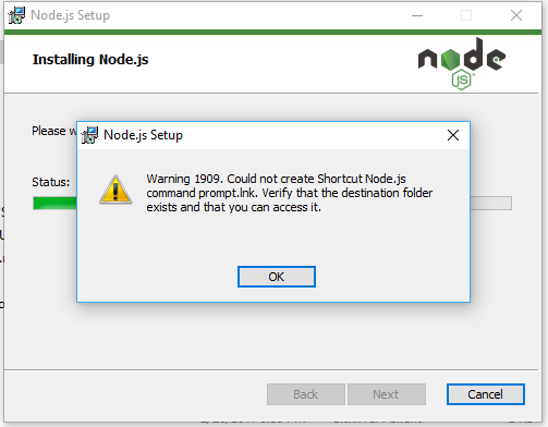 Warning 1909 in Windows 10 on installing node-v6 11 2-x64