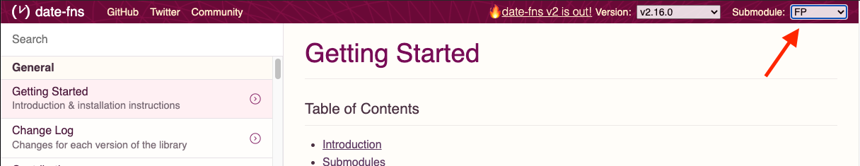 Date-fns docs site submodule toggle