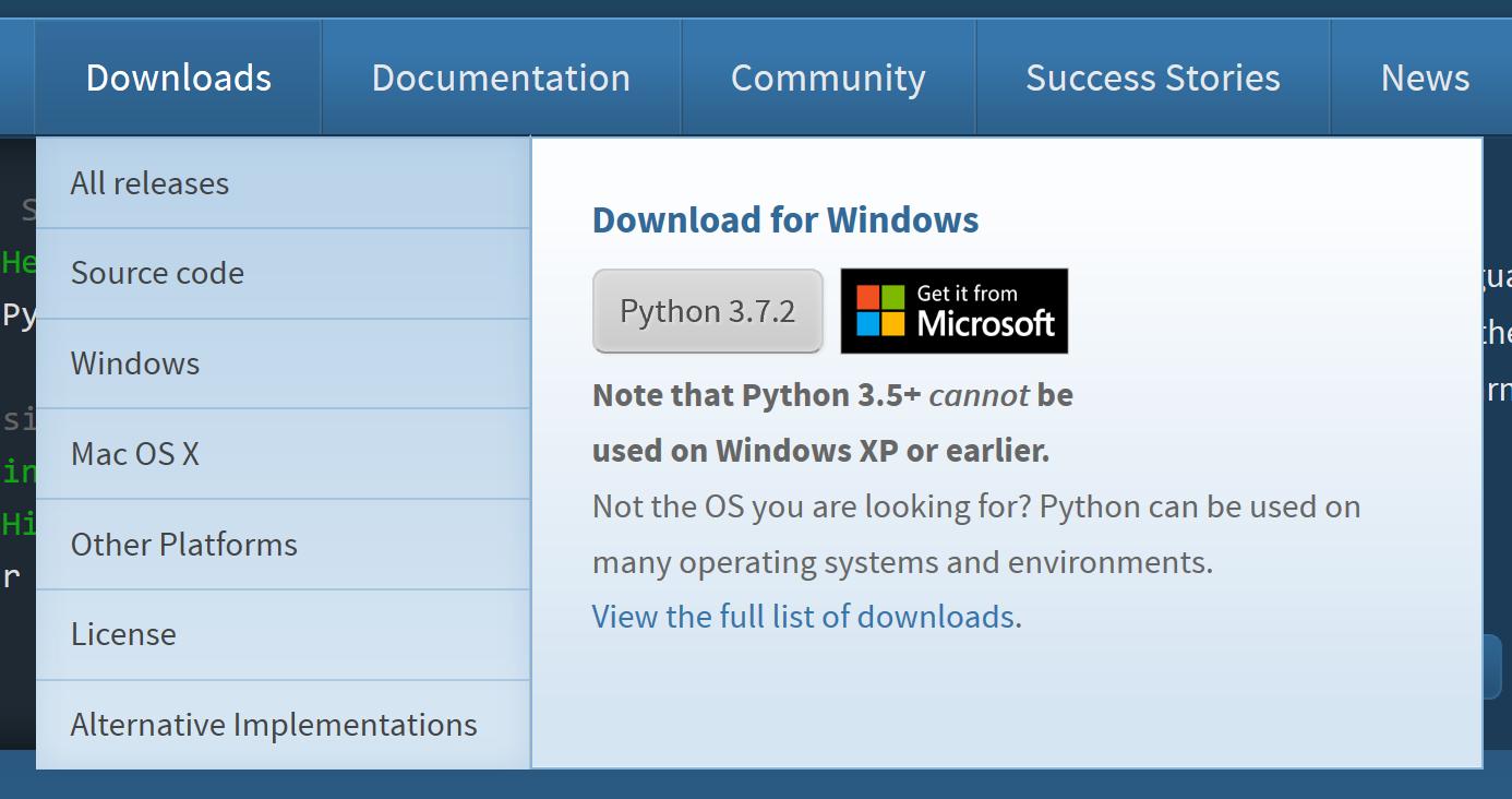 Link to Microsoft Store app · Issue #1370 · python/pythondotorg · GitHub