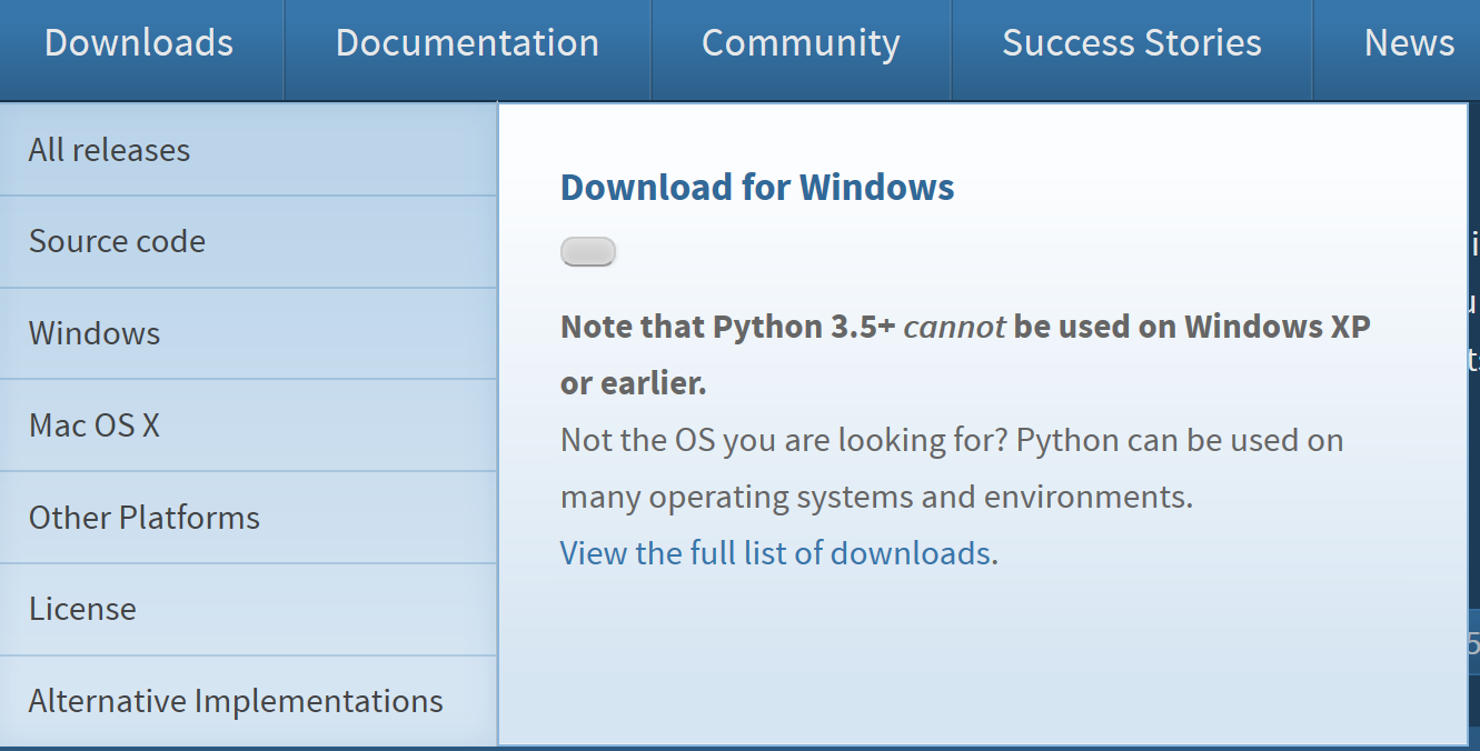 Link to Microsoft Store app · Issue #1370 · python