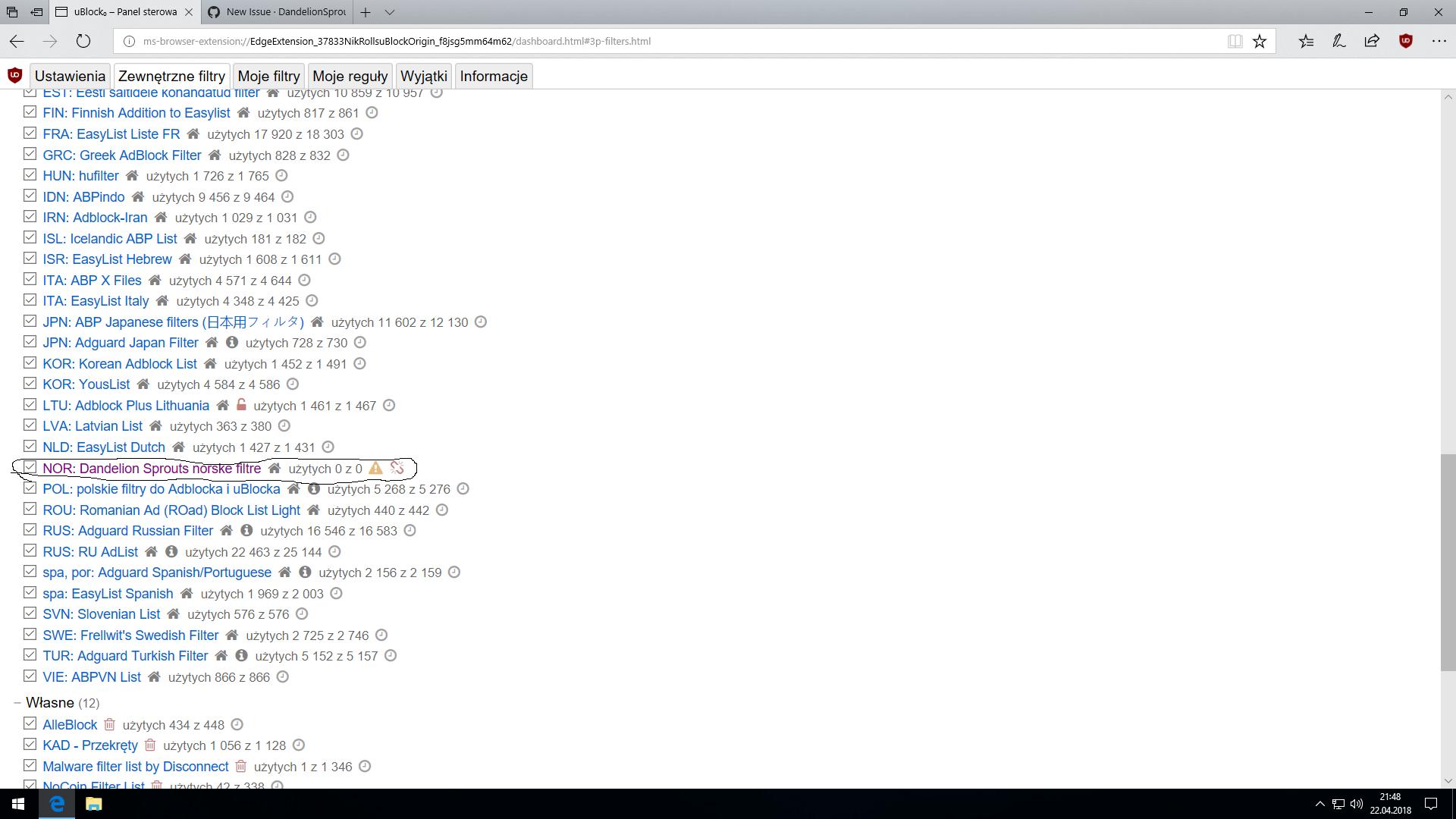 Can't update filter in MS Edge + Ublock Origin  · Issue #3
