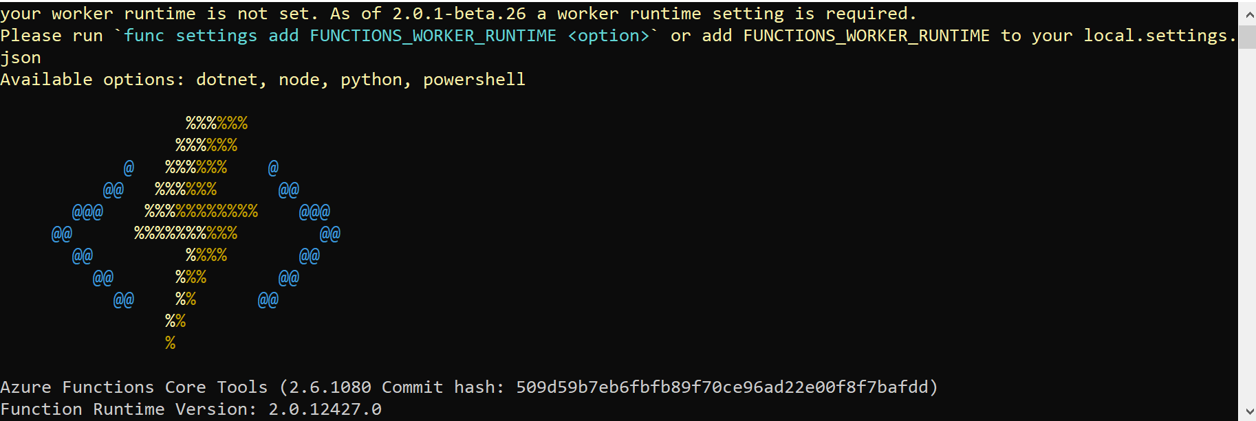 func settings add FUNCTIONS_WORKER_RUNTIME results in base64