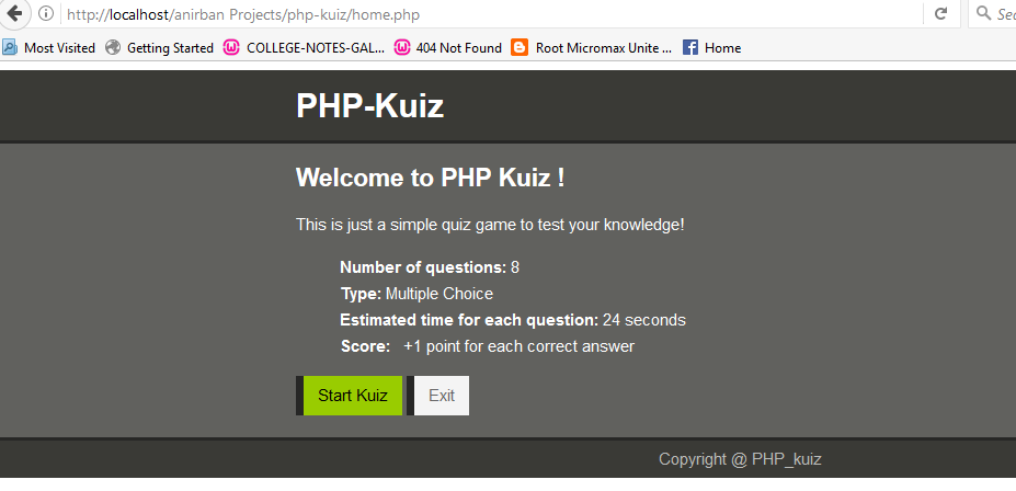 GitHub - anirbandutta9/PHP_KUIZ: Simple web based quiz application