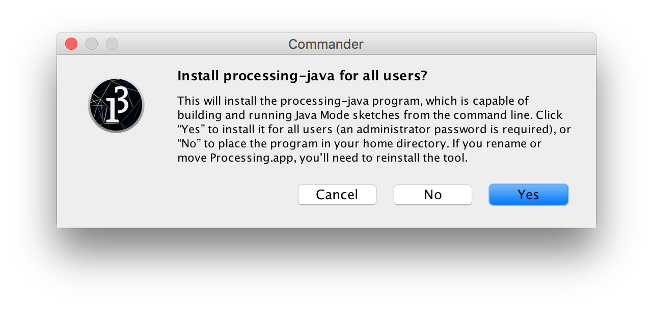 Improve `processing-java` install dialog options · Issue #5213
