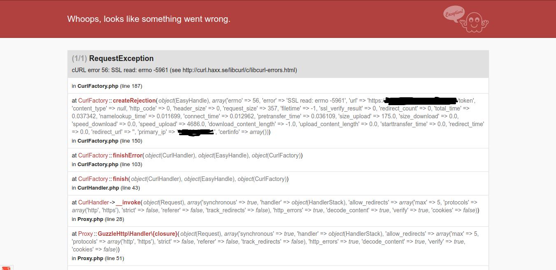 GuzzleHttp\Exception\RequestException (cuRL error 56: SSL
