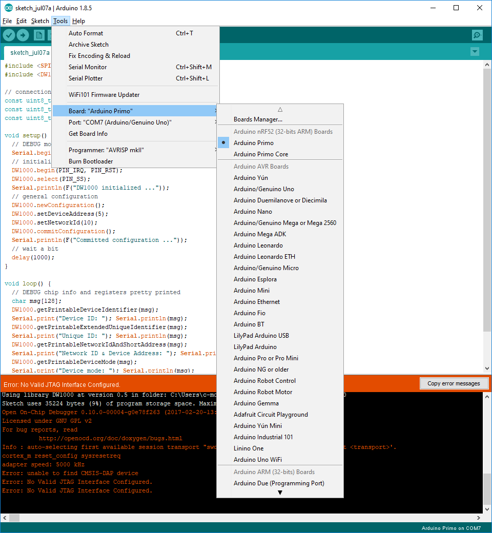 DWM1001 upload problem (JTAG interface not configured) · Issue #275