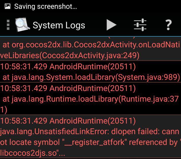 java lang UnsatisfiedLinkError: dlopen failed: cannot locate symbol