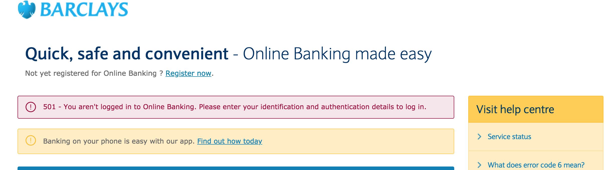 Barclays - 501 error response and logout when trying to give consent