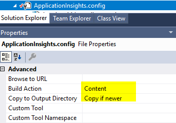 Adding App Insights from Visual Studio creates ASP NET website with