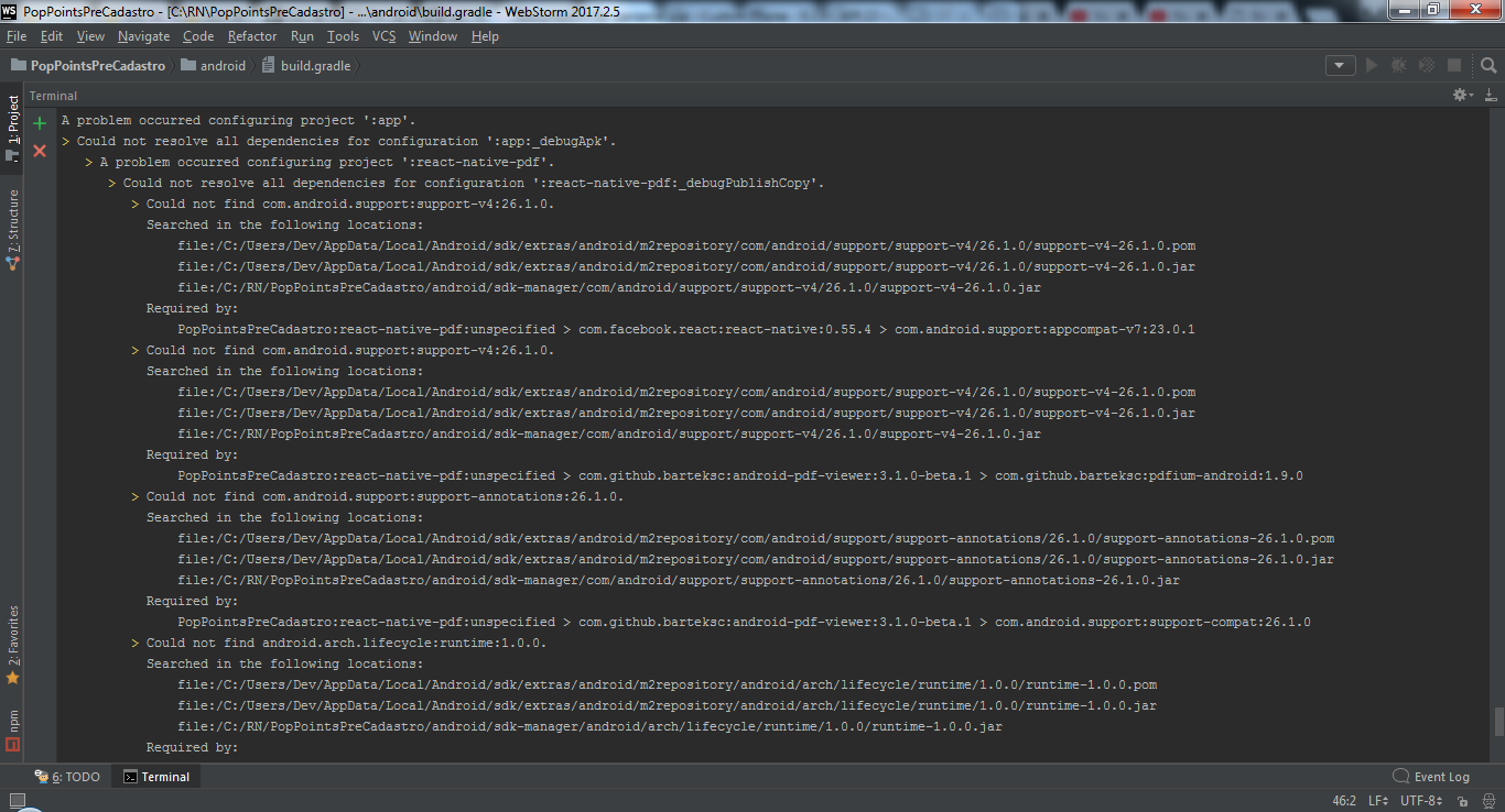 Could not resolve all dependencies for configuration ':app:_debugApk