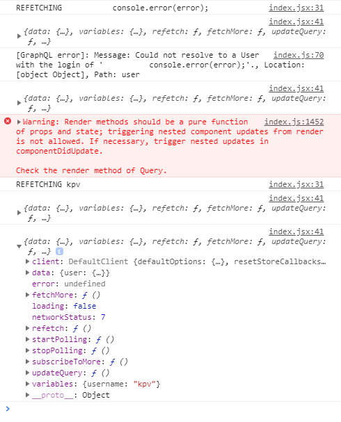 Query component does not clear error after success · Issue