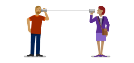 Provide feedback image with two people and a swimlane