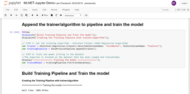 Training in Jupyter