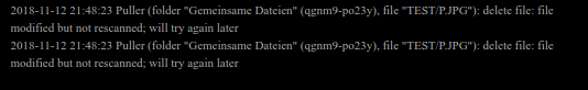 screenshot syncthing logs