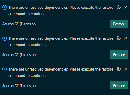 Multiple restore dependencies notifications