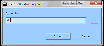 7-zip self-extracting archive's window not in the list