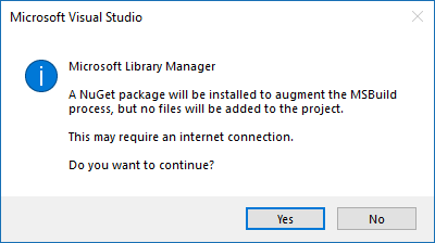 Enable Restore On Build: Adds a NuGet package to your project