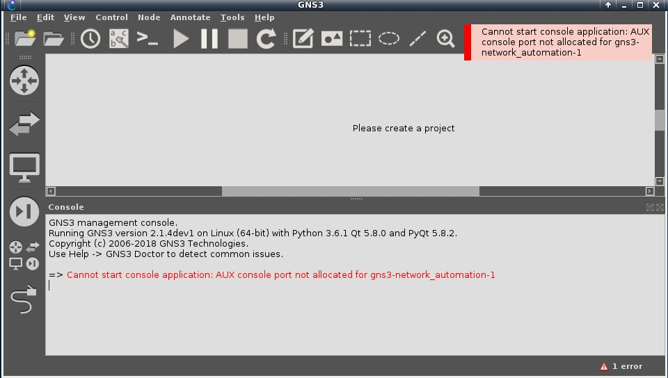 Cannot start console application: AUX console port not